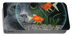 Portable Battery Charger featuring the painting Eye To Eye Sq by Karen Zuk Rosenblatt