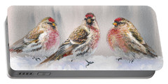 Snowy Birds - Eyeing The Feeder 2 Alaskan Redpolls In Winter Scene Portable Battery Charger by Karen Whitworth