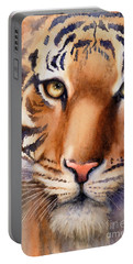 Portable Battery Charger featuring the painting Eyes Of The Tiger by Bonnie Rinier
