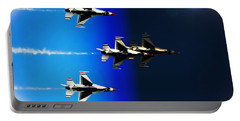 Portable Battery Charger featuring the photograph F16 Flight Into Space by DigiArt Diaries by Vicky B Fuller
