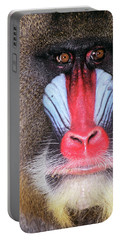 Face Of Male Mandrill Baboon Mandrillus Portable Battery Charger