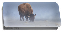 Portable Battery Charger featuring the photograph Faces The Blizzard by Jack Bell