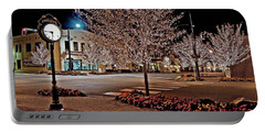 Fairhope Ave With Clock Night Image Portable Battery Charger