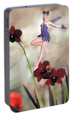 Portable Battery Charger featuring the photograph Fairy In The Orchid Garden by Rosalie Scanlon