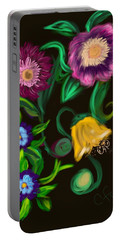 Portable Battery Charger featuring the digital art Fairy Tale Flowers by Christine Fournier