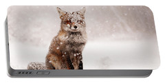 Fairytale Fox _ Red Fox In A Snow Storm Portable Battery Charger