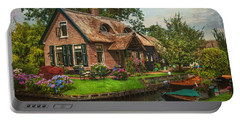 Fairytale House. Giethoorn. Venice Of The North Portable Battery Charger by Jenny Rainbow