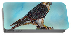 Portable Battery Charger featuring the painting Falcon On Stump by Anthony Mwangi