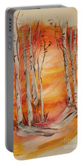 Portable Battery Charger featuring the painting Fall Aspen On Paper by Janice Rae Pariza