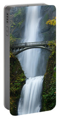 Fall At Multnomah Falls Portable Battery Charger by Don Schwartz