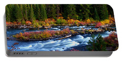 Fall On The Deschutes River Portable Battery Charger by Kevin Desrosiers