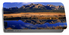 Portable Battery Charger featuring the photograph Fall Reflections Sawtooth Mountains Idaho by Dave Welling