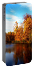 Fall Scene At Hedden Pond With Orton Effect Portable Battery Charger by Eleanor Abramson