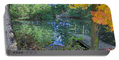 Portable Battery Charger featuring the photograph Fall Scene By Pond by Brenda Brown
