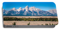 Portable Battery Charger featuring the photograph Fall Tetons Panorama   by Lars Lentz