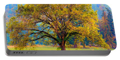 Fall Tree With Two Cows Portable Battery Charger