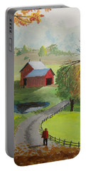 Portable Battery Charger featuring the painting Fall Walk by Norm Starks
