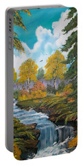 Portable Battery Charger featuring the painting Rushing Waters  Falls  by Sharon Duguay