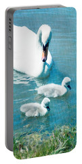 Family Of Swans At The Market Common Portable Battery Charger