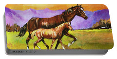 Portable Battery Charger featuring the painting Family Stroll by Al Brown