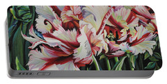 Fancy Parrot Tulips Portable Battery Charger by Jane Girardot