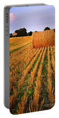 Farm Field With Hay Bales At Sunset In Ontario Portable Battery Charger