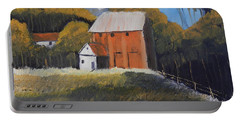 Farm With Red Barn Portable Battery Charger