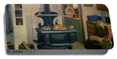 Portable Battery Charger featuring the painting Farmhouse In Autumn 1990 by Nancy Griswold