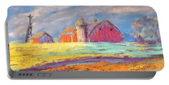 Farmland Sunset Portable Battery Charger by Terri Einer