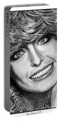 Portable Battery Charger featuring the drawing Farrah Fawcett In 1976 by J McCombie