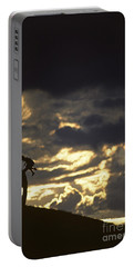 Father Holding Daughter Above His Head Along Hillside Silhouette Portable Battery Charger