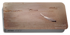 Feather On Sand Portable Battery Charger by Cindy Garber Iverson