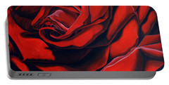 Portable Battery Charger featuring the painting February Rose by Thu Nguyen