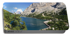 Portable Battery Charger featuring the photograph Fedaia Pass With Lake by Antonio Scarpi