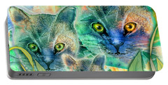 Portable Battery Charger featuring the painting Feline Family by Teresa Ascone