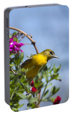 Female Baltimore Oriole In A Flower Basket Portable Battery Charger by Christina Rollo