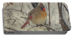 Female Cardinal In The Snow II Portable Battery Charger