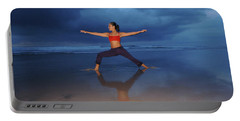 Female Performs Yoga On Beach Portable Battery Charger