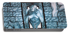 Portable Battery Charger featuring the painting Female's Gray World by Fei A