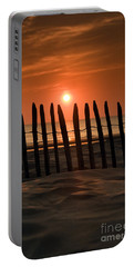 Fence At Sunset Portable Battery Charger