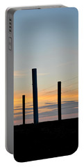 Fence Posts At Sunset Portable Battery Charger