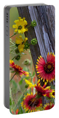 Fenceline Wildflowers Portable Battery Charger by Robert Frederick