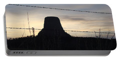Portable Battery Charger featuring the photograph Fencing Devil's Tower by Cathy Anderson