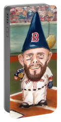 Portable Battery Charger featuring the painting Fenway's Garden Gnome by Jack Skinner