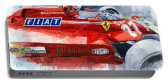 Ferrari 126c Silverstone 1981 British Gp Gilles Villeneuve Portable Battery Charger