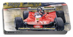 Ferrari  312t4 Gilles Villeneuve Monaco Gp 1979 Portable Battery Charger