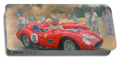 Ferrari, Day Out At Meadow Brook Oil On Canvas Portable Battery Charger