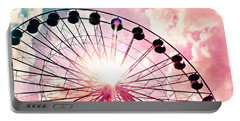 Ferris Wheel In Pink And Blue Portable Battery Charger