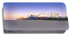 Ferris Wheel Lit Up At Dusk, Santa Portable Battery Charger by Panoramic Images