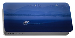Ferry Boat In Puget Sound With Olympic Mountains Portable Battery Charger